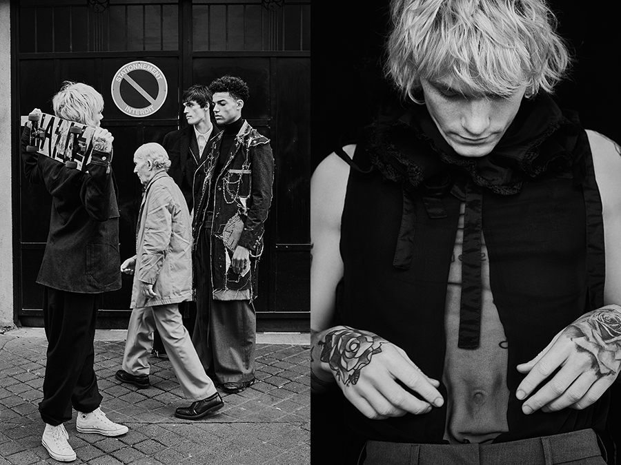 Left: Paul, Florentin and Timothée in Icosae. Right: Paul in Y/PROJECT. © René Habermacher
