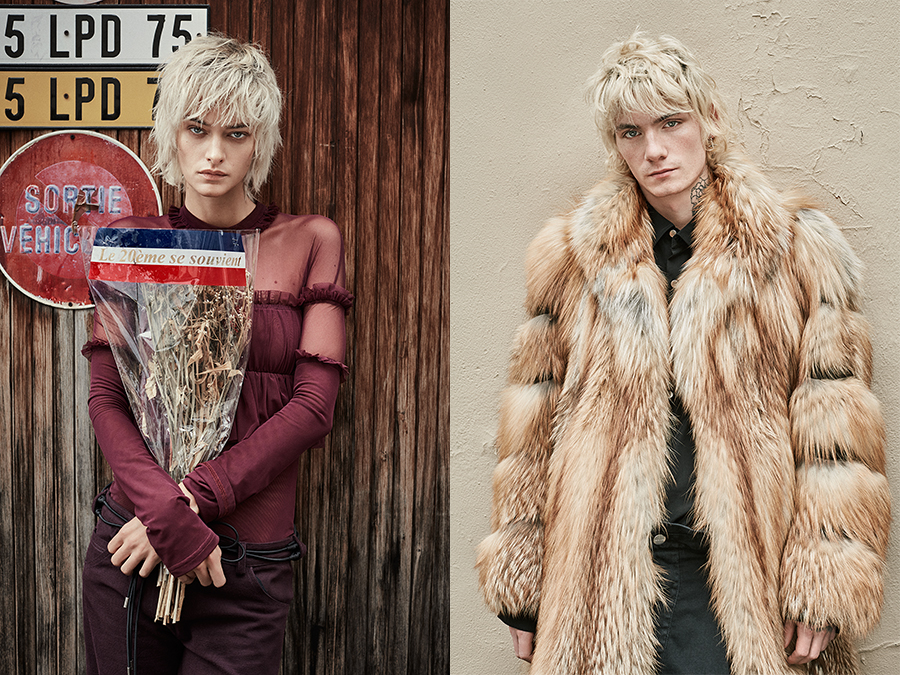 Left: Nadine wears Lea Peckre top and pants. Right: Paul wears a Neith Nyer coat. © René Habermacher